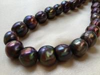al por mayor negro perlas de agua dulce sueltos-14-15mm Peacock Negro Perlas de agua dulce cultivadas Barroco Nugget Perlas sueltas 15 pulgadas