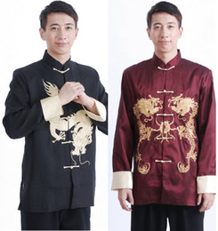Wholesale Chinese Mens Costume Tang suit Embroidered Dragon Men s Shirt Kung Fu Long sleeved Jacket
