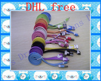 Wholesale micro pin Colorful Noodles Sync amp Charger Flat Data Cable Charger for s2 s3 i9100 s4 note