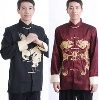Regular Men Tang Suit Kung Fu Long-sleeved Jacket Chinese Mens Costume Tang suit Embroidered Dragon Men's Silk Shirt