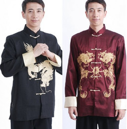 Wholesale Kung Fu Long sleeved Jacket Chinese Mens Costume Tang suit Embroidered Dragon Men s Silk Shirt