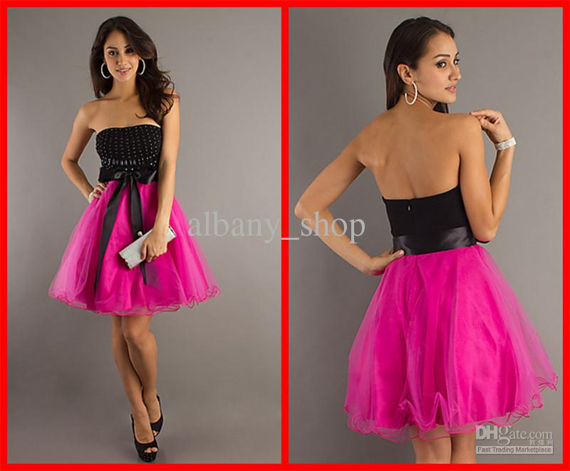 Simple Jump Black And Fuchsia Strapless Dress Beading Bodice ...