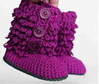 Wholesale Crochet baby snow booties first walker shoes loops design cotton yarn pairs M