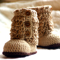 Wholesale 1pair Crochet baby snow booties first walker shoes loops design cotton yarn M custom
