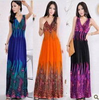 animal print dresses - 2016 Newest Bohemian mopping the floor long dress beach dress peacock flower dress dress fashion dress