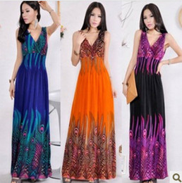 Wholesale 2012 Bohemian mopping the floor long dress beach dress peacock flower dress dress fashion dress