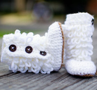 Crochet baby snow booties first walker shoes loops ruffles d...