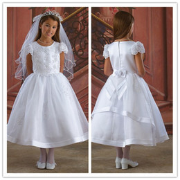 Wholesale Scoop Neck Cap Style Short Sleeves Embroidery Bow Flower Lace SatinTea Length First Communion Dress