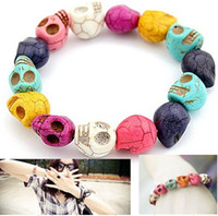 Wholesale Colorful cheap turquoise skull stretch bracelet jewelry Gemstone Loose Beads findings l