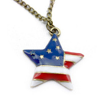 Wholesale Retro Enamel USA Nation American Flag Star Bronze Pendant Necklace