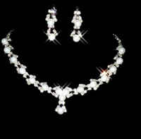 Wholesale Necklace Earring set Rhinestone Wedding bridal pearl JEWELRY Wedding Accessories S XL127