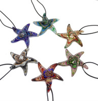 Wholesale 6pcs fashion gold dust starfish Lampwork murano glass metal bead pendant necklace jewelry