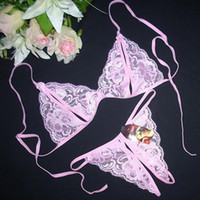 Wholesale Women Sexy Bras Sets Sheer Lace Lingerie Bra set Narrow Opening Flower print Thong Panties Underwear