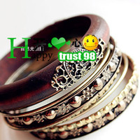 Wholesale Vintage Carved Wooden Bangle women new fashion jewelry
