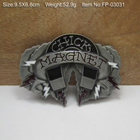 Wholesale Fashion magnet belt buckle western belt buckle with pewter finish FP