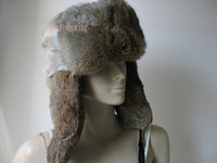 Wholesale Men s and women s rabbit fur hats caps natural brown