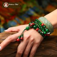 Wholesale E Tibetan Buddhist Natural Green Jade porcelain silver beads bracelet jade wrist beads necklace