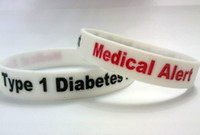 Cheap 1000PCS Type 1 Diabetes Insulin Dependent Medical Alert Silicone Wristband bracelets free shipping