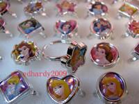 kids rings - Box Cartoon Snow White Princess Plastic Rings Kids Girl Birthday Party Gifts