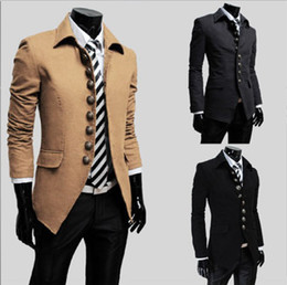 Wholesale New Men s Coat Men s Fashion Multi buckle Lapel Slim OverCoat Coat Color Size M L XL XXL