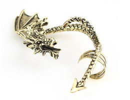 Wholesale Gothic Punk Rock Temptation Metal Dragon Ear Cuff Clip Earrings Gold Sliver Game Of Thrones jewelry