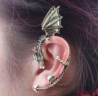 Wholesale Fashion Gothic Punk Rock Temptation Metal Dragon Ear Cuff Clip Earrings Gold Sliver Game Of Thrones