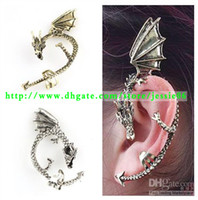 Wholesale Fashion Gothic Punk Rock Temptation Metal Wrap Fly Dragon Ear Cuff Clip Earrings Gold Sliver Earring
