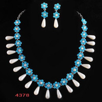 Wholesale Rhinestone Necklaces Earrings Sets Alloy Colors Mixed Pearl Jewelry Sets Post Air