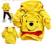 Wholesale baby Long sleeved Hoodie coat cartoon Clothing yellow Hoodies Sweatshirts