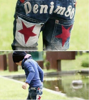 Wholesale Children s stars specialize jeans cotton jeans boy s jean pant Jeans star Embroidery Letter jeans