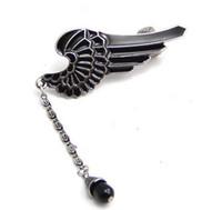 Wholesale Punk Gothic Silver Tone Enamel Wing Bead Tassels Ear Cuff ear Clip unisex jewelry