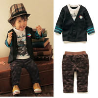Wholesale Baby Boys Outfit Boy Set Boys Designer Clothes Autumn Cardigan Sweatercoat Tops Star Pants Trouser