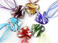 Wholesale 6pcs colorful handmade fashion D Flower heart murano glass bead pendant necklace jewelry