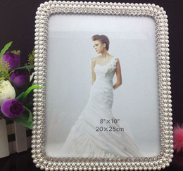 Wholesale 5 quot quot quot quot quot Pearl diamond inlaid metal alloy photo frame wedding photo frame bridal gifts