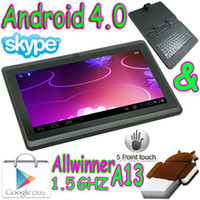 Wholesale 7 quot flat Capacitive touch screen Android Tablet pc Allwinner A13 webcam Q88 leather keyboard case