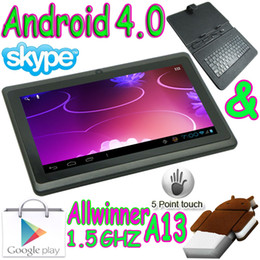 online shopping 7 quot flat Capacitive touch screen Android Tablet pc Allwinner A13 webcam Q88 leather keyboard case