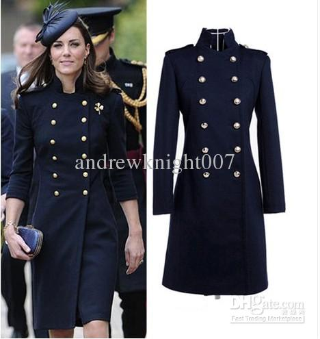 2014 British style Princess Kate Military Convention Woollen Long Coat Women's dress free shipping