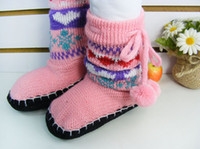 Wholesale children shoes floor sock prevent slippery knitting wool shoes girls middle tube boots winter
