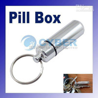 silver metal pill box - Waterproof Wear resisting Aluminium Keychain Pill Box Travel Metal Holder Case Container Silver