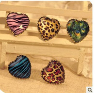 Wholesale New Lovely Fashion Style Jewelry Peacock Heart Leopard Finger adjustable size Ring