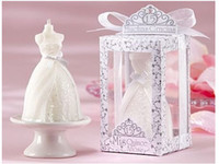 Cheap Wholesale 50pcs Wedding Dress Candle Wedding Birthday Party Favors Gifts Romantic