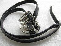 Steel   Strap On Cock Ring Metal Penis Cage with PU Leash Bondage Male Chastity Device Gadget Adult Sex toys for Men XLY774
