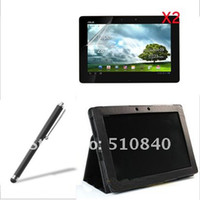 Wholesale Folio Stand Leather Case Cover Screen Protector Stylus For ASUS Eee Pad Transformer TF300 TF300T
