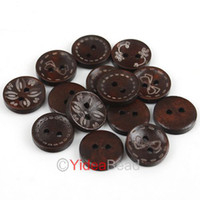 Wholesale FREE SHIP x Mixed Pattern Coffee Wooden Sewing Button Scrapbooking mm