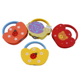 New Born Party Gift Wholesale Tambourine Rattles Musical Instruments Hand Drum Animal Pattern Baby Wooden Toys