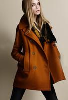 Wholesale new monde women s coats women s trench coats women s coats retro double breasted woolen coat brown