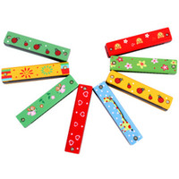 Wholesale 2012 Hot sale Hole Wooden Mini Musical Instrument Toy Colorful Cartoon Animal Harmonica Best Gift