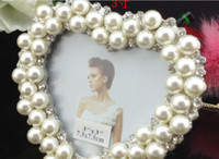 Wholesale metal frames quot heart shape Pearl diamond inlaid metal alloy photo frame wedding photo frame bridal gifts