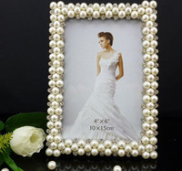 Wholesale metal frames quot rectangular shape Pearl diamond inlaid metal alloy photo frame wedding photo frame bridal gifts