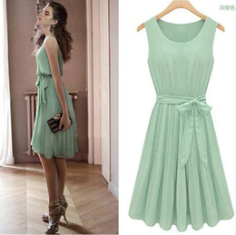 Wholesale H340 New Womens light green sleeveless Pleated cocktail party dress size XS S M